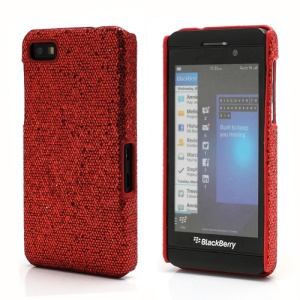 Glittery Paillette Chic Protective Hard Case Shell for BlackBerry Z10 BB 10 - Red