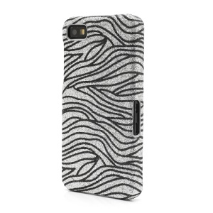 Bling Flashing Powder Zebra Stripe Hard Case for BlackBerry Z10 BB 10 - Black / Silver