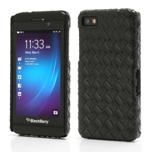 Woven Pattern Leather Coated Hard Plastic Case for BlackBerry Z10 BB 10 - Black