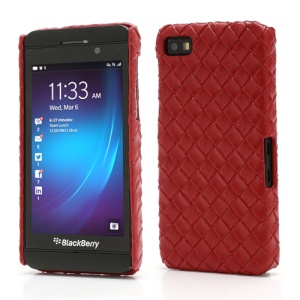 Woven Pattern Leather Coated Hard Plastic Case for BlackBerry Z10 BB 10 - Red