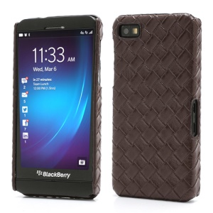 Woven Pattern Leather Coated Hard Plastic Case for BlackBerry Z10 BB 10 - Brown