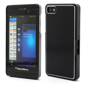 Vertical Brushed Aluminum Skin Plastic Hard Case Sheild for BlackBerry Z10 BB 10 - Black