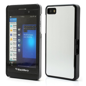 Vertical Brushed Aluminum Skin Plastic Hard Case Sheild for BlackBerry Z10 BB 10 - Silver