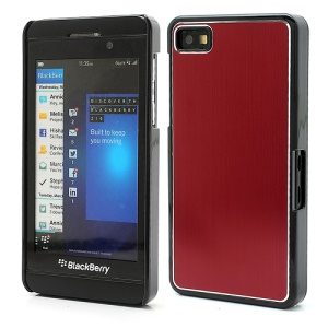 Vertical Brushed Aluminum Skin Plastic Hard Case Sheild for BlackBerry Z10 BB 10 - Red