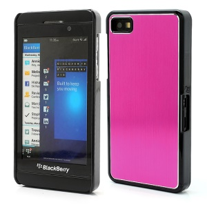 Vertical Brushed Aluminum Skin Plastic Hard Case Sheild for BlackBerry Z10 BB 10 - Rose