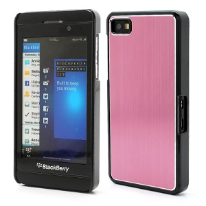 Vertical Brushed Aluminum Skin Plastic Hard Case Sheild for BlackBerry Z10 BB 10 - Pink