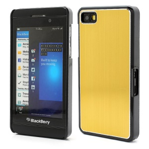 Vertical Brushed Aluminum Skin Plastic Hard Case Sheild for BlackBerry Z10 BB 10 - Gold