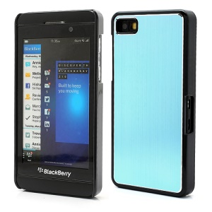 Vertical Brushed Aluminum Skin Plastic Hard Case Sheild for BlackBerry Z10 BB 10 - Light Blue