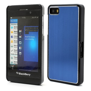 Vertical Brushed Aluminum Skin Plastic Hard Case Sheild for BlackBerry Z10 BB 10 - Dark Blue
