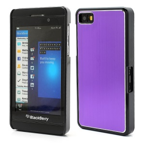 Vertical Brushed Aluminum Skin Plastic Hard Case Sheild for BlackBerry Z10 BB 10 - Purple