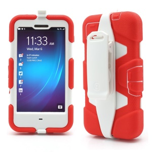 Griffin Survivor Military Duty Case with Belt Clip for BlackBerry Z10 - White / Red