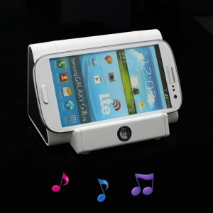 Wireless Magic Boost Cradle Amplify Speaker for iPhone iPod Samsung Nokia LG Sony etc - White