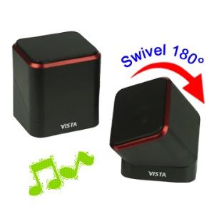 Rotary Rectangular Multimedia USB Mini Speaker for Computer Mobile MP3;Red