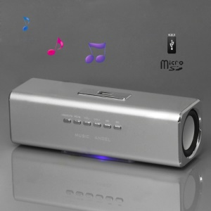 Music Angel USB Micro SD/TF Card Reader FM Radio Speaker for MP3 Mobile Phone PC(UK2) - Silver