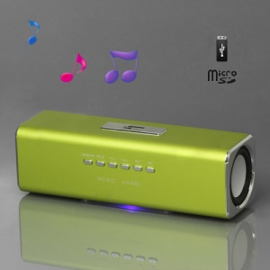 Music Angel USB Micro SD/TF Card Reader FM Radio Speaker for MP3 Mobile Phone PC(UK2) - Green