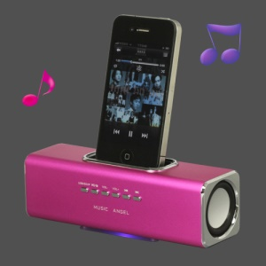 Portable Music Angel Speaker for iPhone iPod Mobile Phone PC U-disk SD(UK3) - Rose