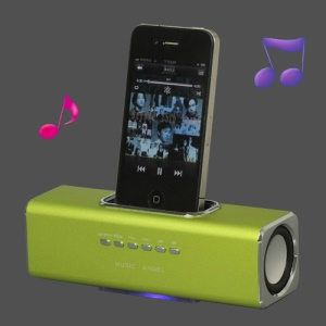 Portable Music Angel Speaker for iPhone iPod Mobile Phone PC U-disk SD(UK3) - Green