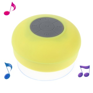 Mini Portable Waterproof Bluetooth Speaker with Suction Cup + Controls & Microphone - Yellow