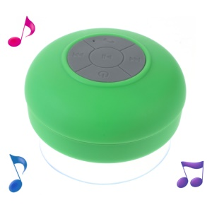 Mini Portable Waterproof Bluetooth Speaker with Suction Cup + Controls & Microphone - Green