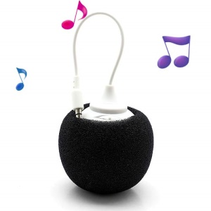 Mini Sponge Balloon Style USB Rechargeable Speaker w/ 3.5mm Audio Jack - Black
