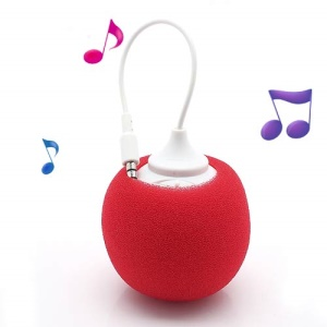 Mini Sponge Balloon Style 3.5mm Audio Jack USB Powered Speaker - Red