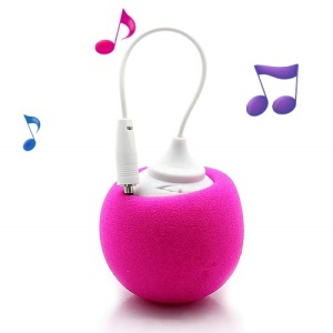 Mini Sponge Balloon Style 3.5mm Audio Jack USB Powered Speaker Loudspeaker - Rose
