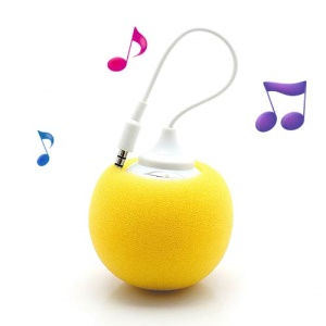 Mini Sponge Balloon Style USB Powered 3.5mm Audio Jack Speaker - Yellow