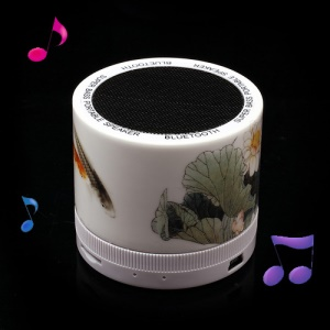 Mini Ceramic Super Bass Bluetooth Speaker Support TF Card Painted Chinese Classical Style Fish Play Around Lotus