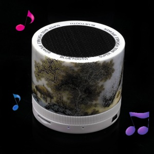 Mini Ceramic Super Bass Bluetooth Speaker Support TF Card Painted Chinese Classical Style Mountain Pavilion Scene