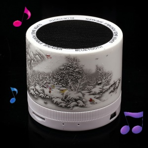 Mini Ceramic Super Bass Bluetooth Speaker Support TF Card Painted Chinese Classical Style Snow Scene