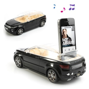 Black Luxury Car Super Bass Stereo Music Speaker FM Radio USB TF Card iPhone 4 4S Plug On Play 3.5MM Audio Jack Devices