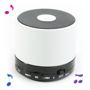 White Mini LED Display Wireless Bluetooth Speaker E-717, Support Handsfree Mic / TF / FM
