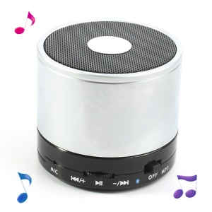 Silver Mini LED Display Wireless Bluetooth Speaker E-717, Support Handsfree Mic / TF / FM