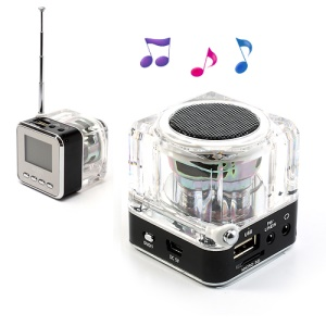 NiZHi TT-028 Mini Crystal Music Speaker w/ LED Flashing Light, Support TF / USB / FM / Line in - Black