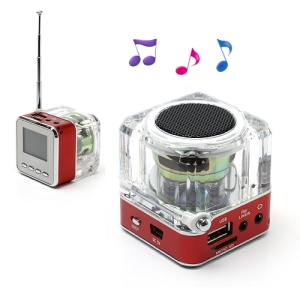 NiZHi TT-028 Mini Crystal Music Speaker w/ LED Flashing Light, Support TF / USB / FM / Line in - Red