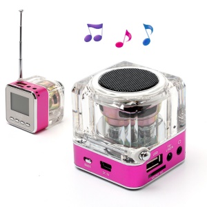 NiZHi TT-028 Mini Crystal Music Speaker w/ LED Flashing Light, Support TF / USB / FM / Line in - Rose