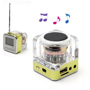 NiZHi TT-028 Mini Crystal Music Speaker w/ LED Flashing Light, Support TF / USB / FM / Line in - Green