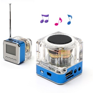 NiZHi TT-028 Mini Crystal Music Speaker w/ LED Flashing Light, Support TF / USB / FM / Line in - Blue