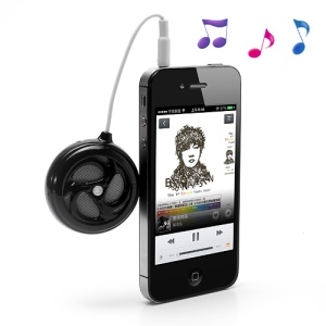 AOPU Whirlwind Portable 3.5MM Audio Stereo Speaker for Mobile Phone Mp3 Mp4 PC etc. - Black