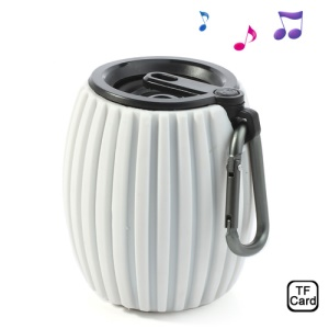 White Jar Shaped Q8 Wireless Bluetooth Speaker Music Player w/ Mic, Support Handsfree Calls / TF Card