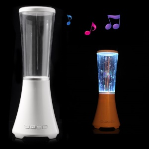 White Wireless Bluetooth Water Dancing Speaker Support TF Card / USB Flash Driver / AUX-input