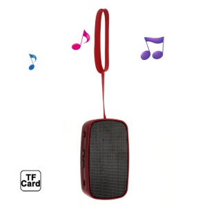 Red Mini Stereo Bluetooth Speaker with Handstrap + Controls & Mic, Support TF, AUX, FM