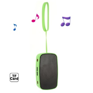 Green Mini Stereo Bluetooth Speaker with Handstrap + Controls & Mic, Support TF, AUX, FM