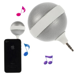 Portable 3.5mm Microphone Shape Mini Stereo Music Speaker for iPhone iPad iPod Samsung - White