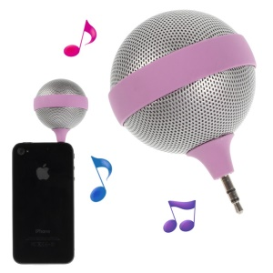 Portable 3.5mm Microphone Shape Mini Stereo Speaker for iPhone iPad iPod Samsung - Rose