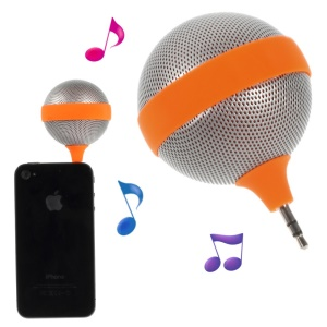 Portable 3.5mm Microphone Shape Mini Speaker for iPhone iPad iPod Samsung - Orange