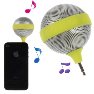 3.5mm Microphone Shape Portable Stereo Speaker for iPhone iPad iPod Samsung - Yellow
