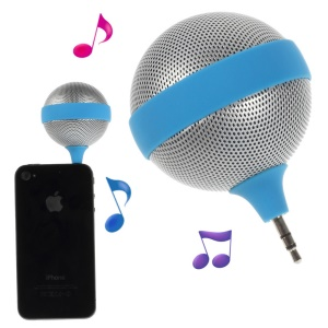 3.5mm Microphone Shape Mini Stereo Speaker for iPhone iPad iPod Samsung - Blue