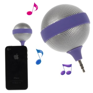 3.5mm Microphone Shape Mini Stereo Speaker for iPhone iPad iPod Samsung - Purple