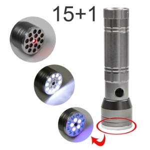 Newest Bright 15 in 1 LED Flashlight Torch w/ UV and Laser Light